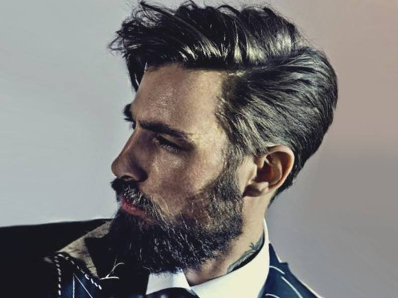 medium hairstyles man with beard