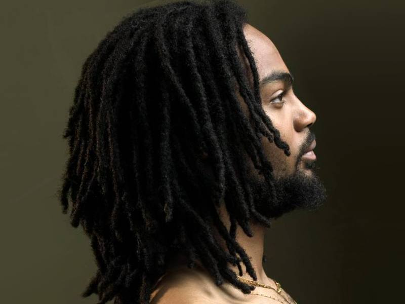 A black guy with a dreadlocks hairstyle for men.