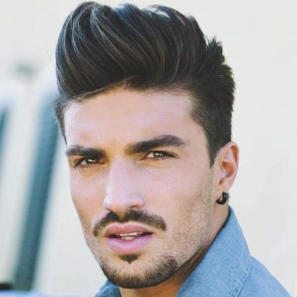 A pompadour male hairstyle