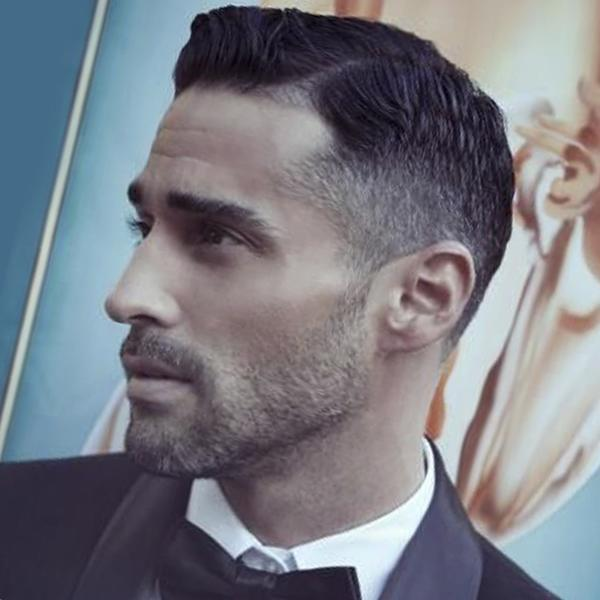 A taper cut men's hairstyle