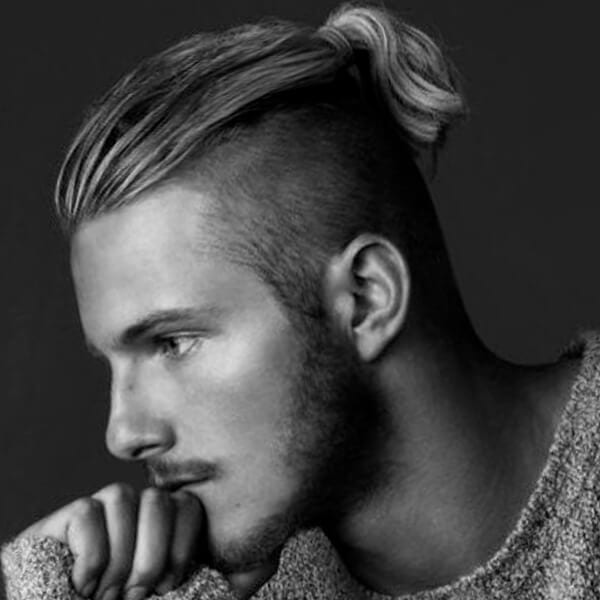 High ponytail undercut hairstyle for men