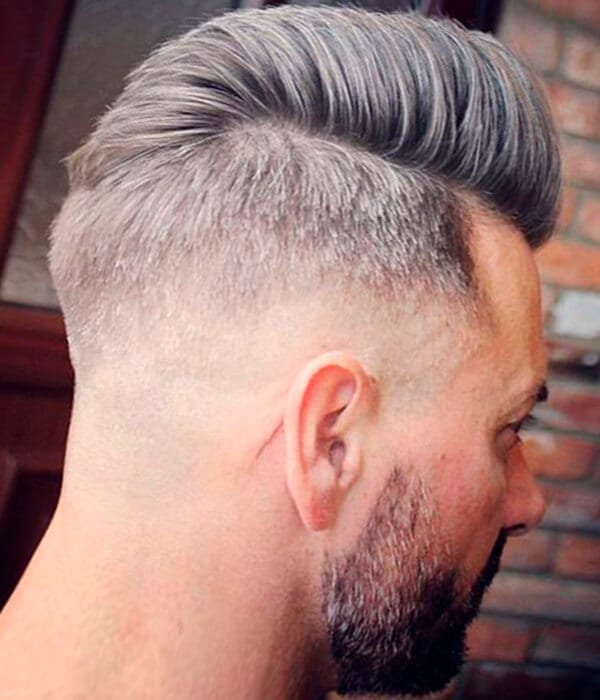 Disconnected pompadour male haircut