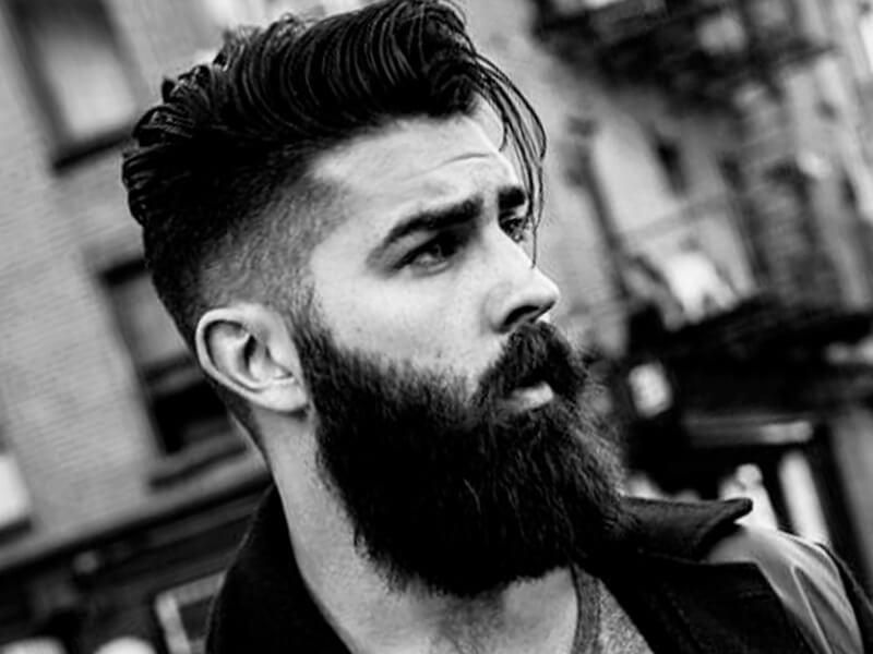 Hipster man haircut with beard