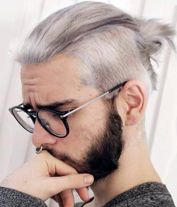 Man bun hipster haircut