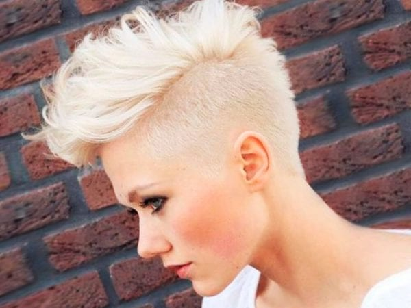 a blonde girl with Mohawk hairstyle