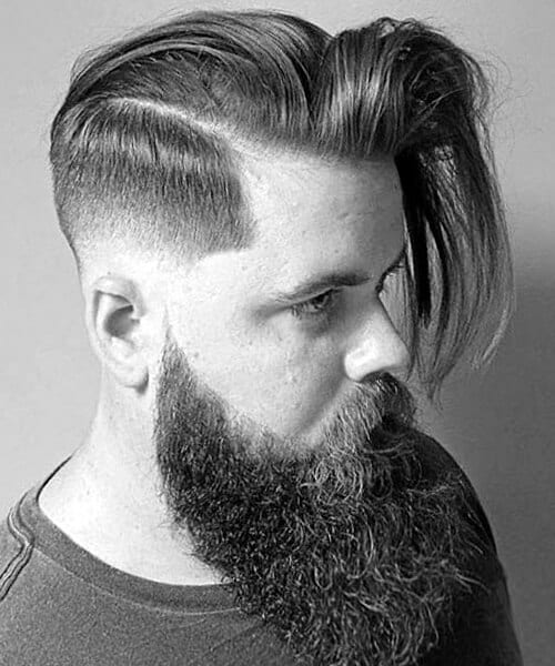 Long and straight sleekness fade haircut for men