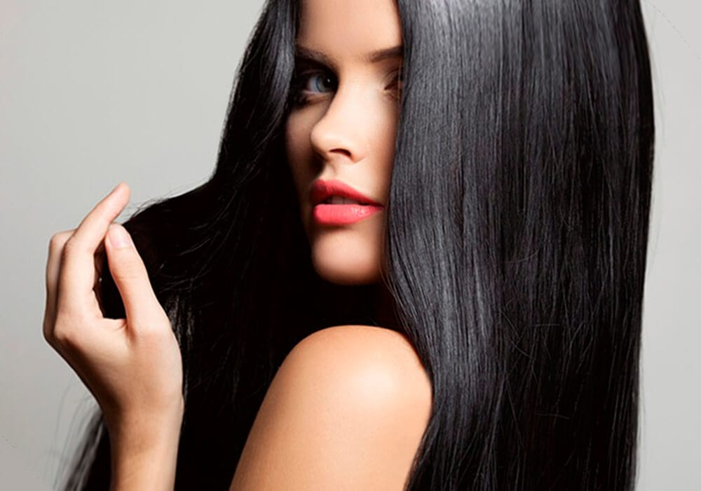 A gal with long black straight hair.