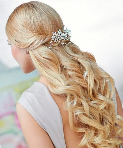Cascading Curls Half Up Wedding Hairstyle