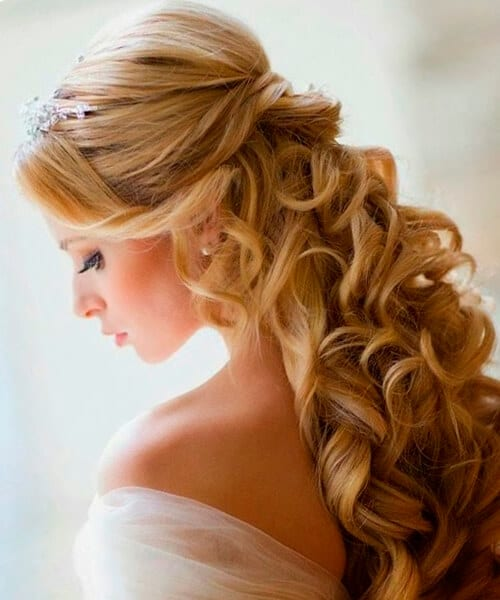 Pretty pouf half up wedding hairstyle
