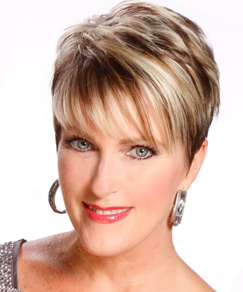 Y Fringe Short Hairstyle For Older Women