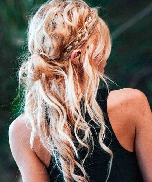 Beach hippie easy fast hairstyle for long hair