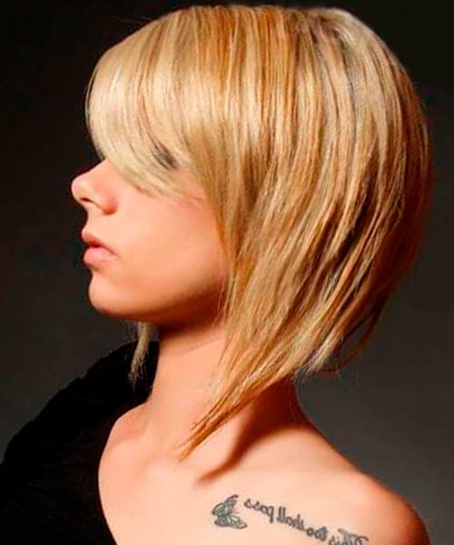 Sleek elongated bob hairstyle for thick hair