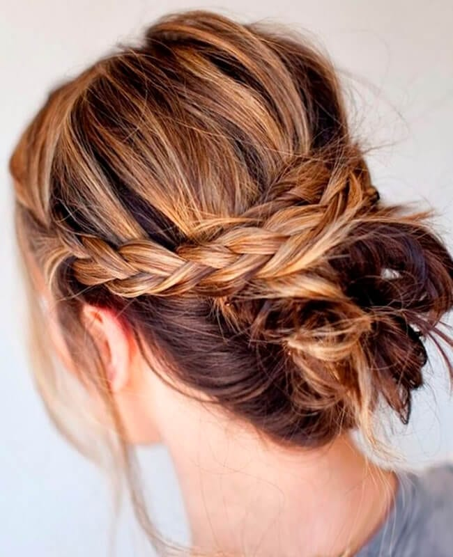 Braided bun quick hairstyle for medium length hair