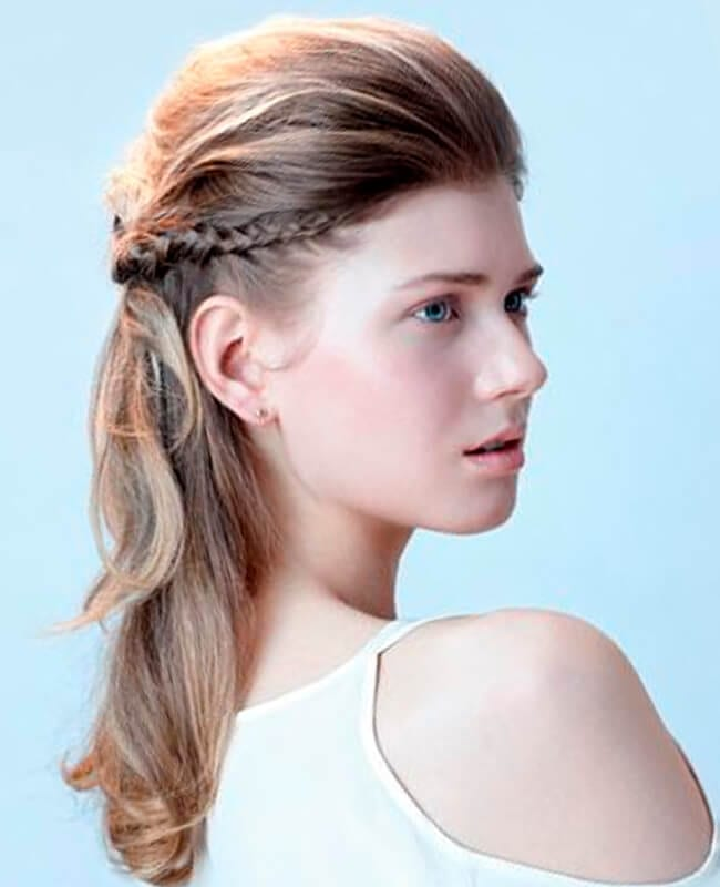 Braided halo best mid length hairstyle