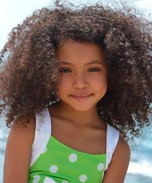Girl with curly natural black hair