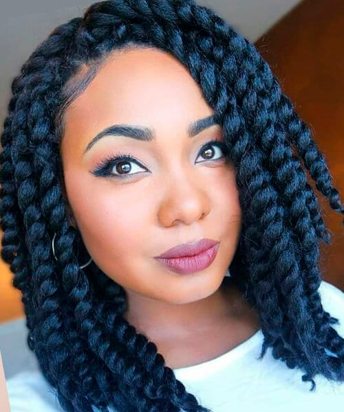 Jumbo Havana twists natural hairstyle for medium length hair