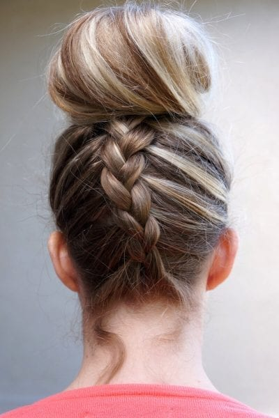 Twisted top knot for long hair easy summer hairstyle