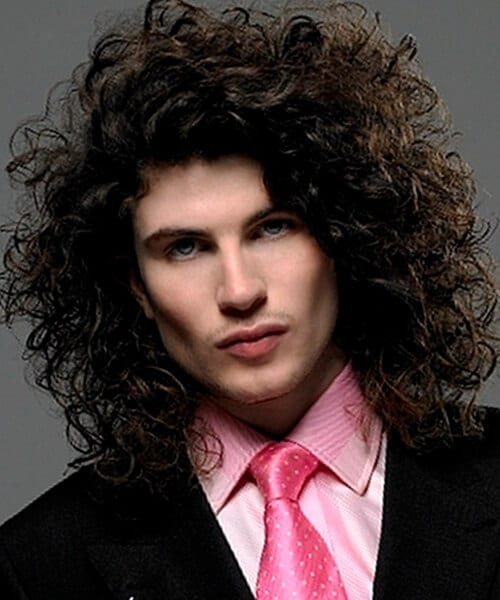 Men's long hairstyle for very curly hair