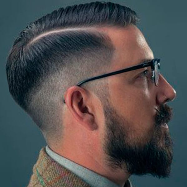 Men's undercut hairstyle with tapered sides
