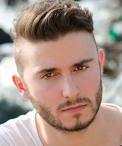 Short back and sides men's hairstyle for round face