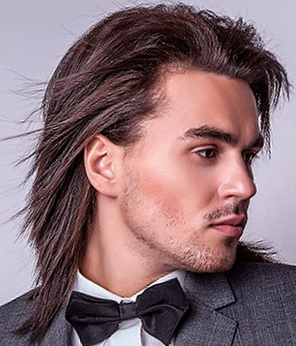 Simply straight and long men's haircut