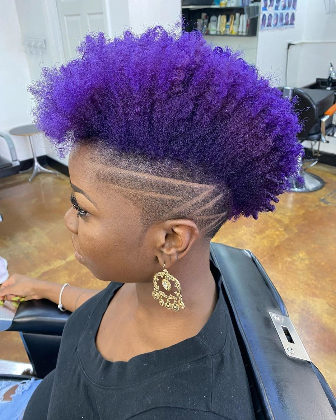Hairstyle for Purple Curly Hair