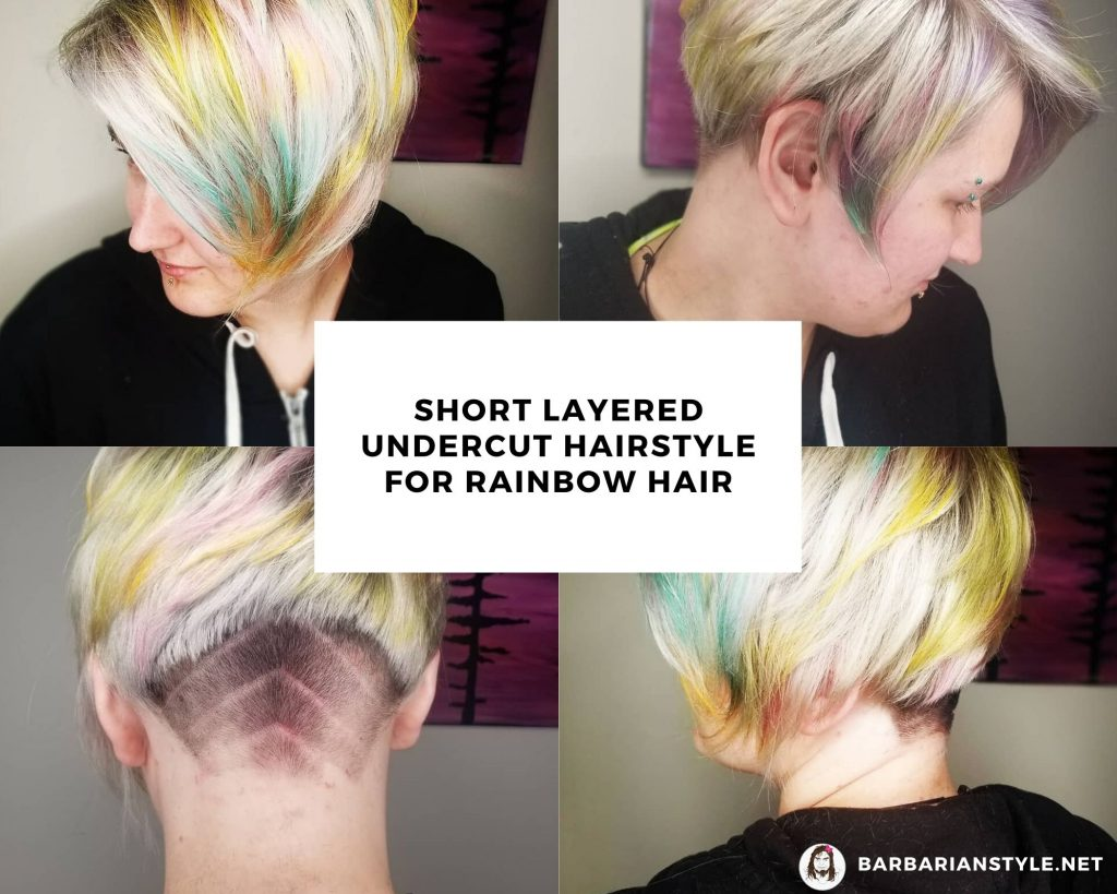 Short Layered Undercut Hairstyle for Rainbow Hair