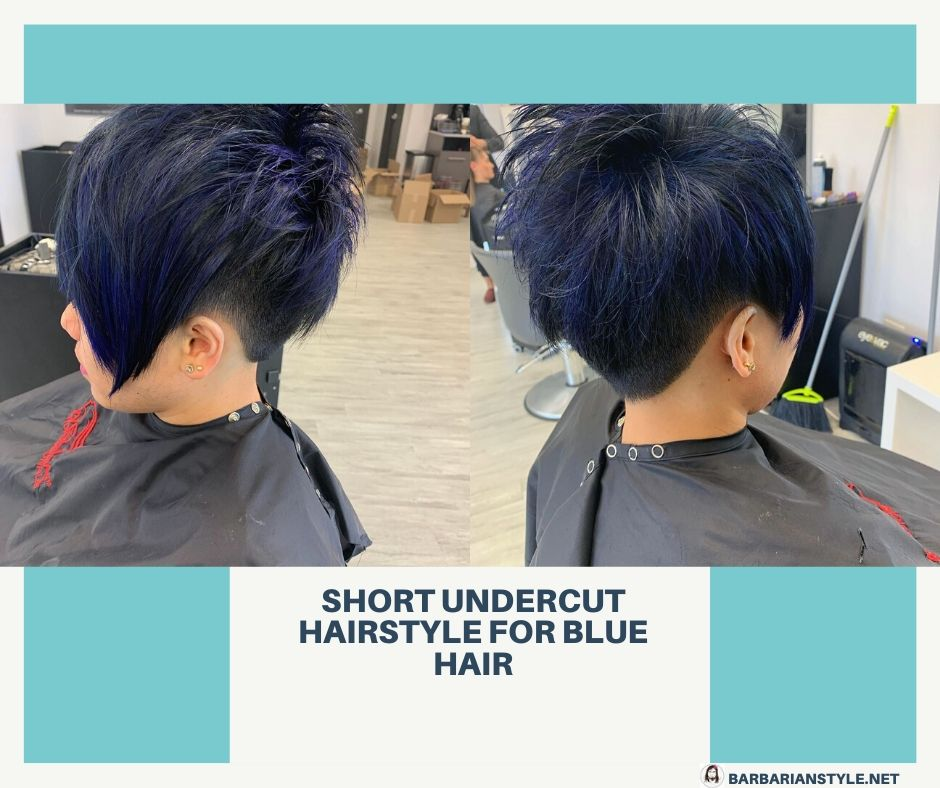 Short Undercut Hairstyle for Blue Hair