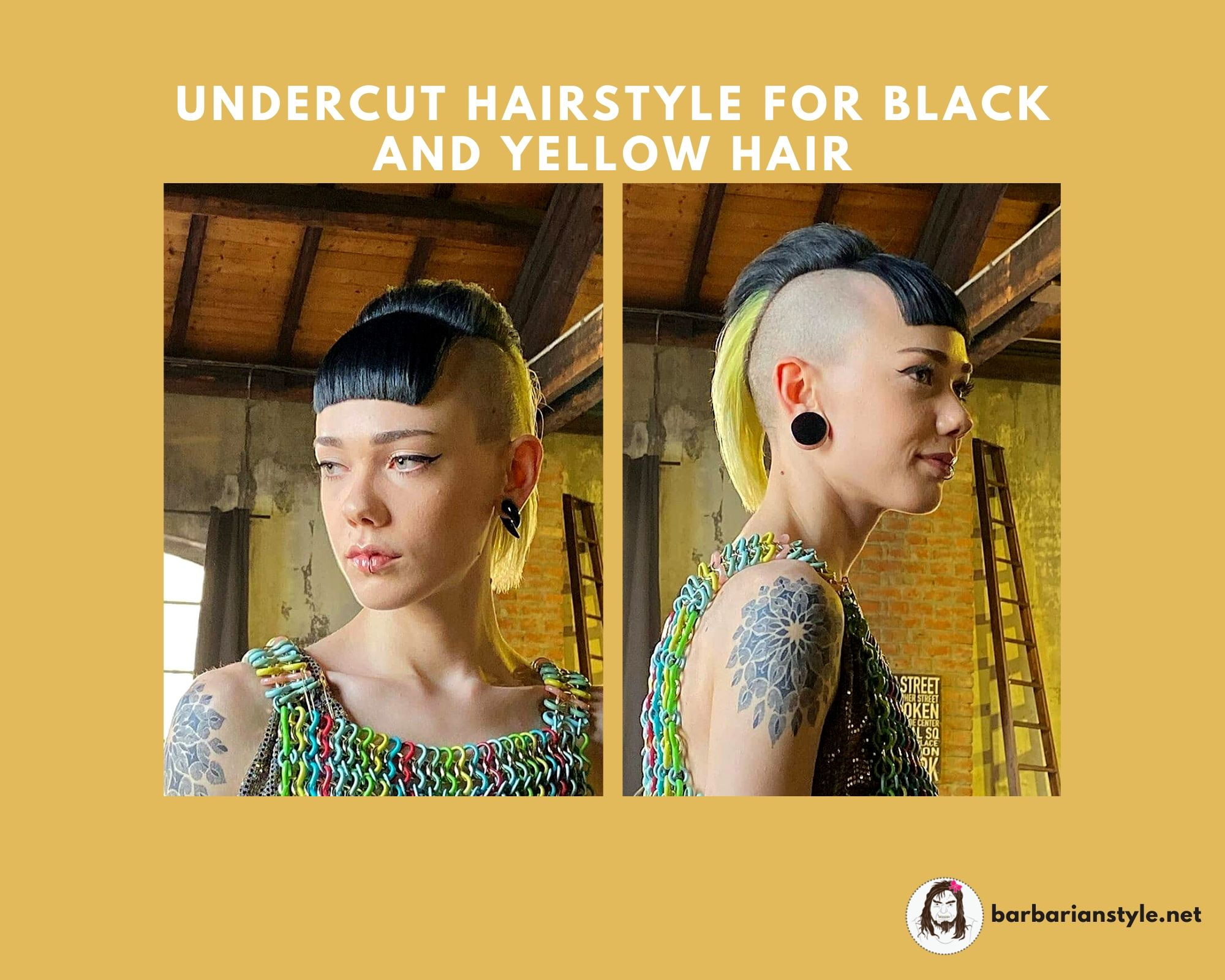 Undercut Hairstyle for Black and Yellow Hair
