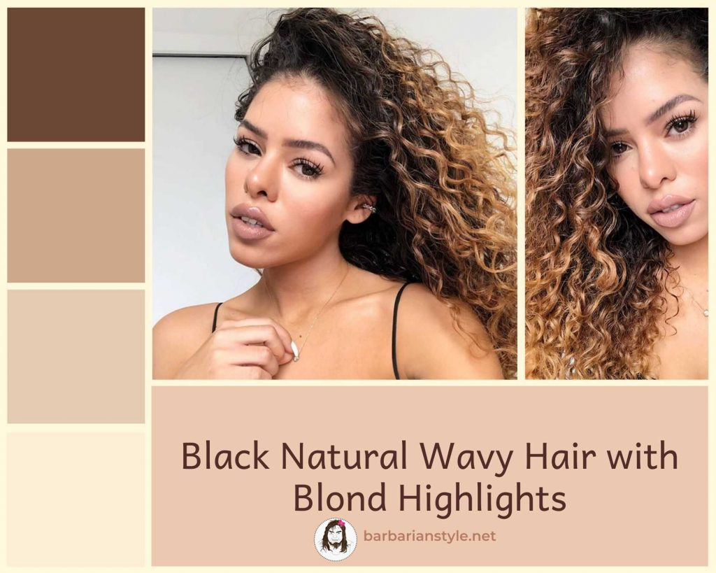 black natural wavy hair with blond highlights