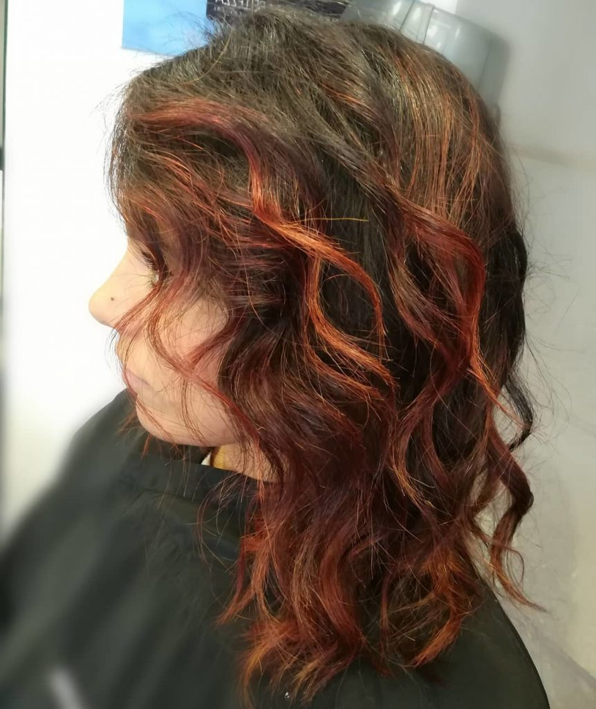 brown hair with red highlights for curled hair