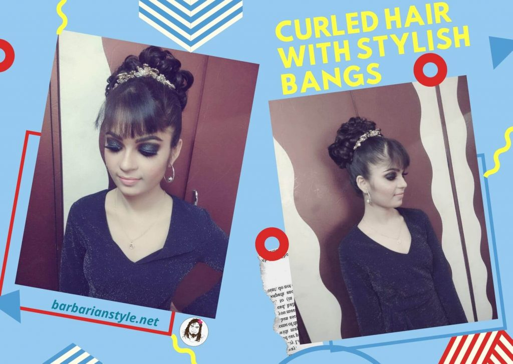 curled hair with stylish bangs