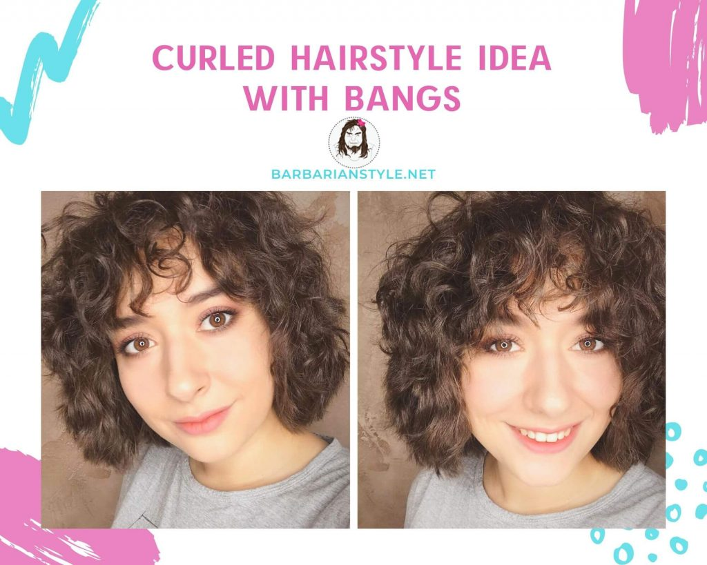 curled hairstyle idea with bangs