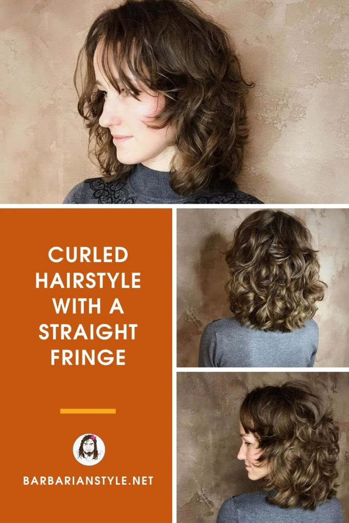 curled hairstyle with a straight fringe