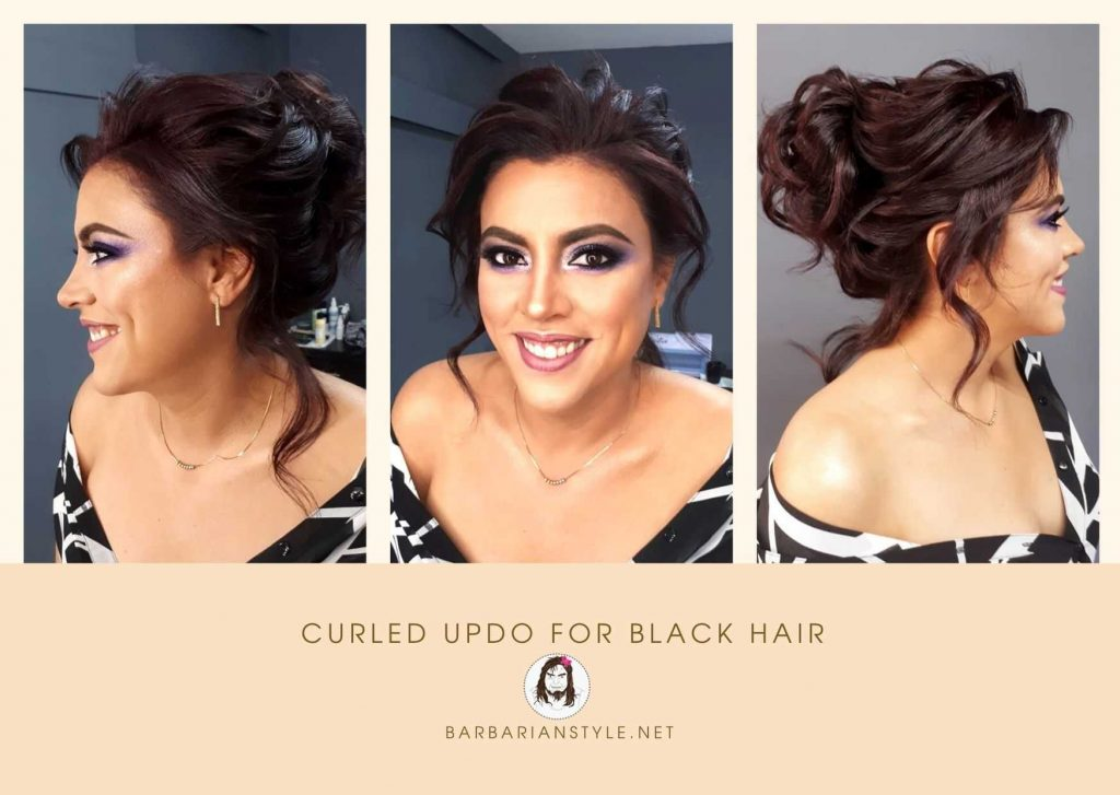 curled updo for black hair