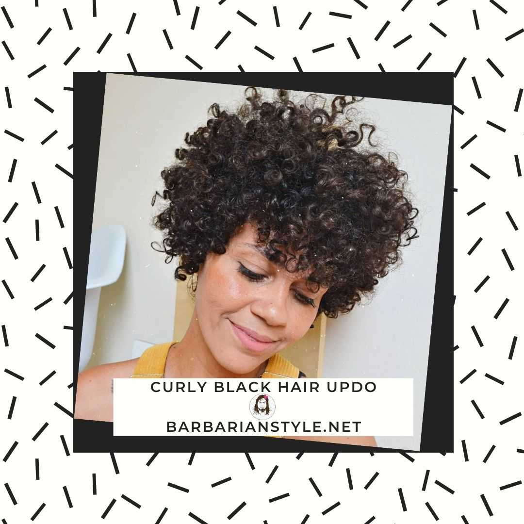 curly black hair updo