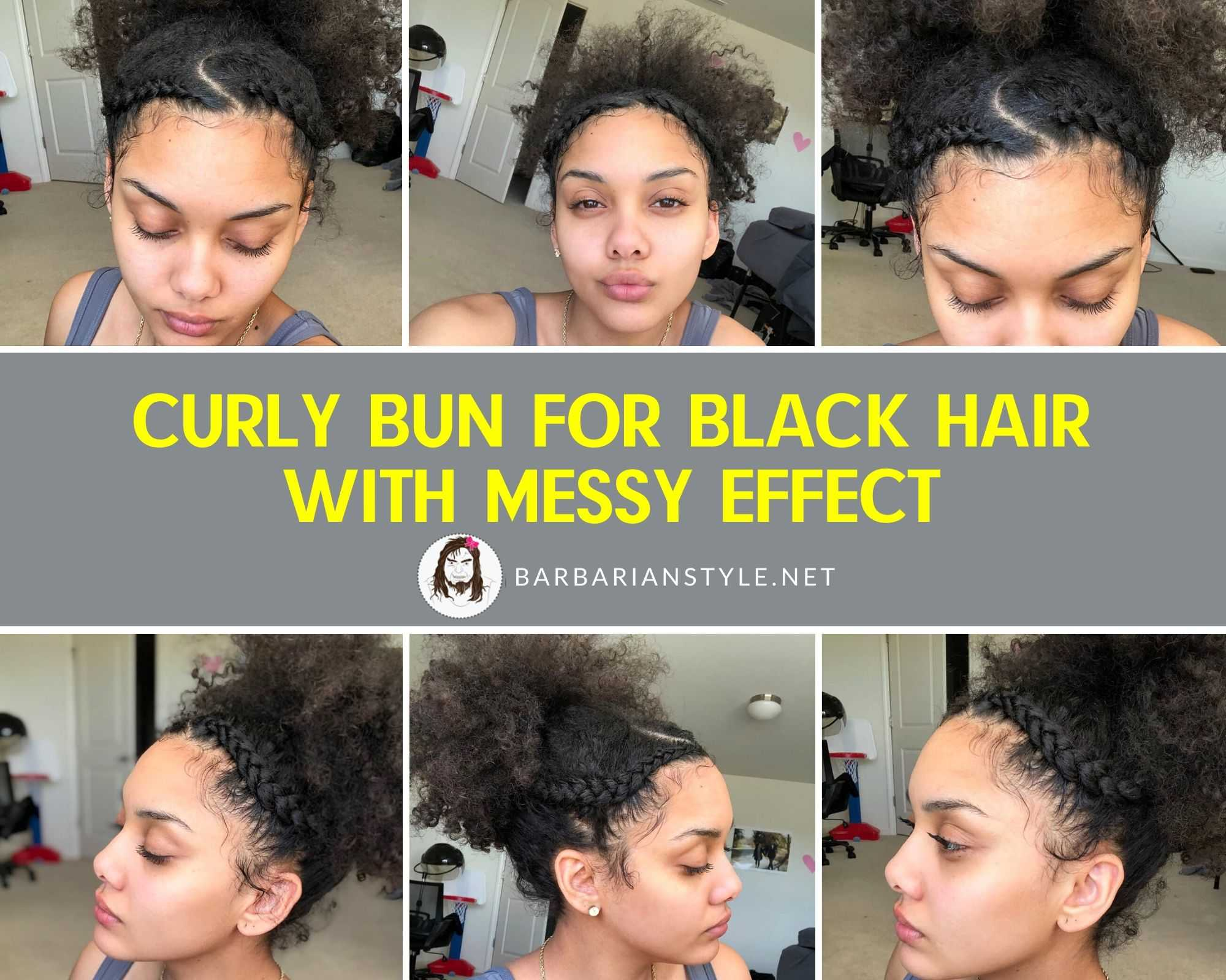 curly bun for black hair with messy effect