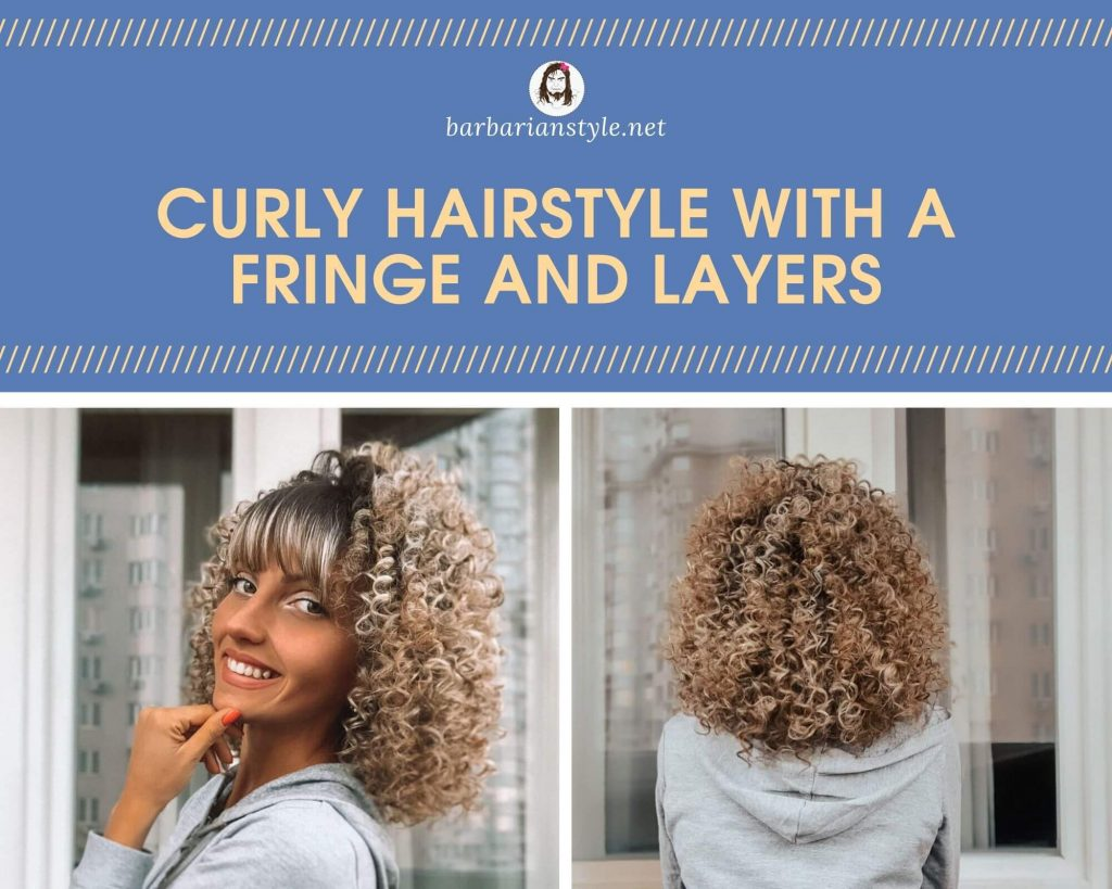 curly hairstyle with a fringe and layers