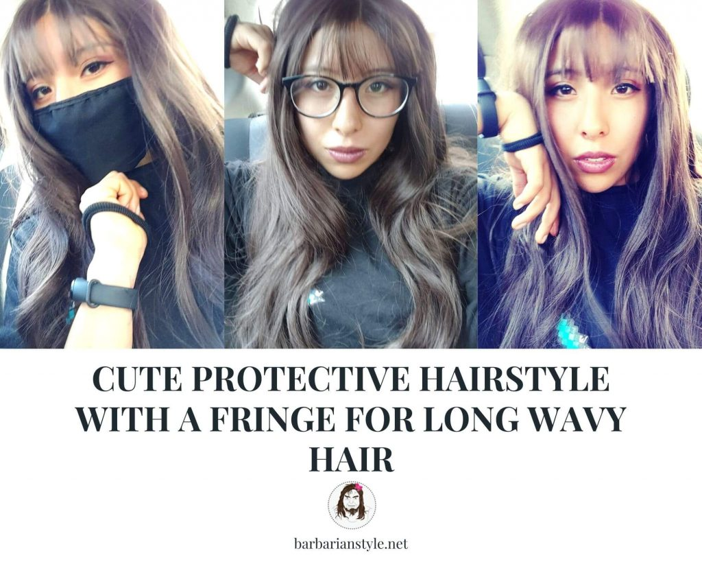 cute protective hairstyle with a fringe for long wavy hair