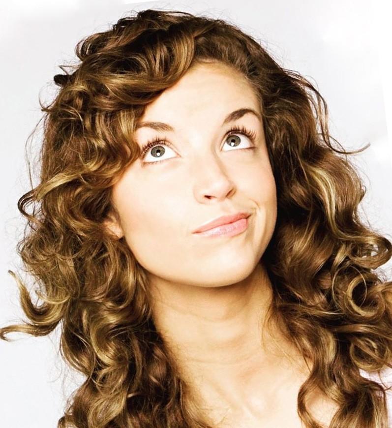 dark blonde balayage curly hairstyle