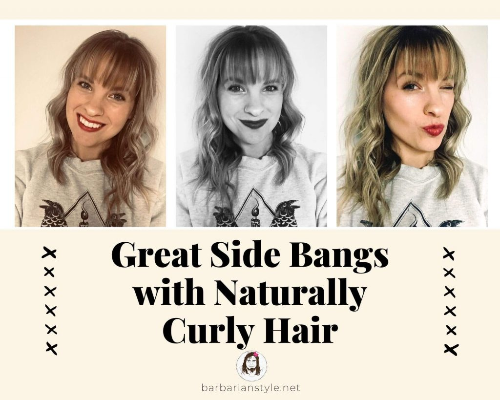 great side bangs with naturally curly hair