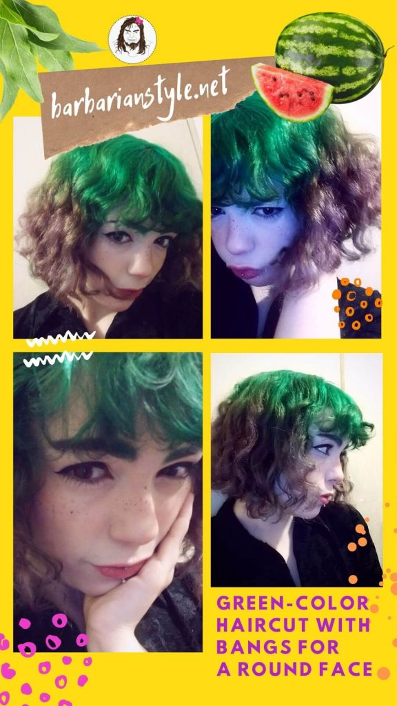green-color haircut with bangs for a round face