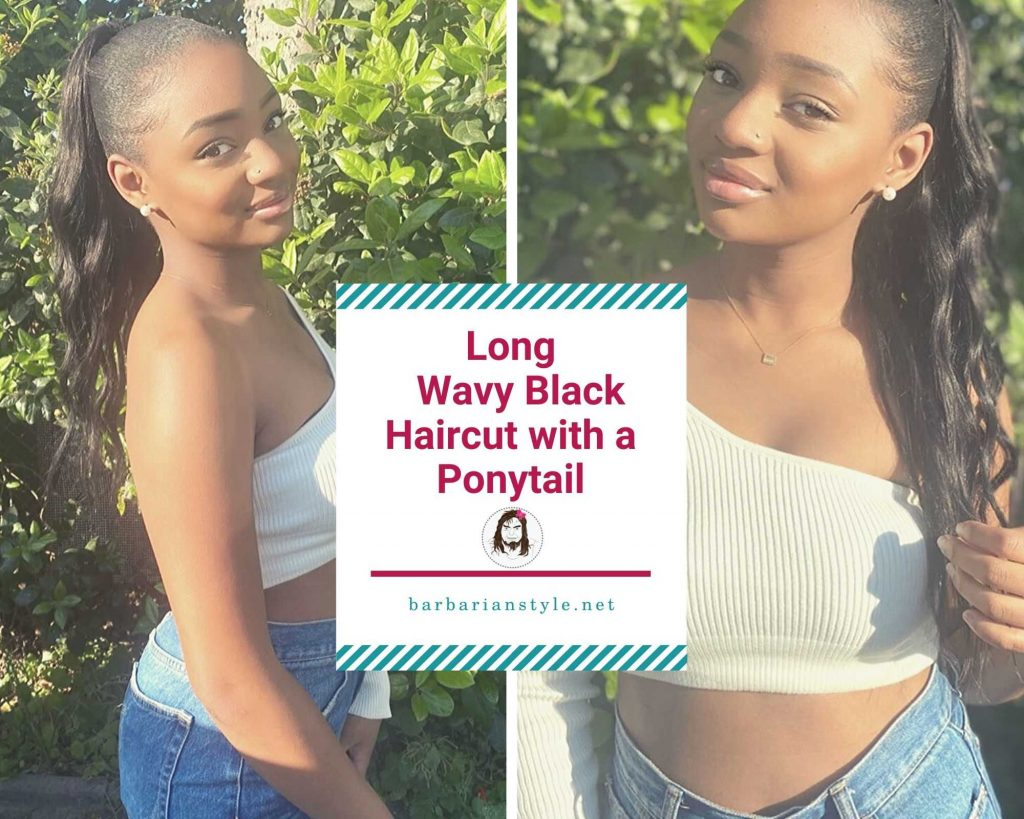 long wavy black haircut with a ponytail