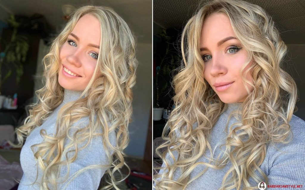 lovely curly hairstyle with blonde highlights