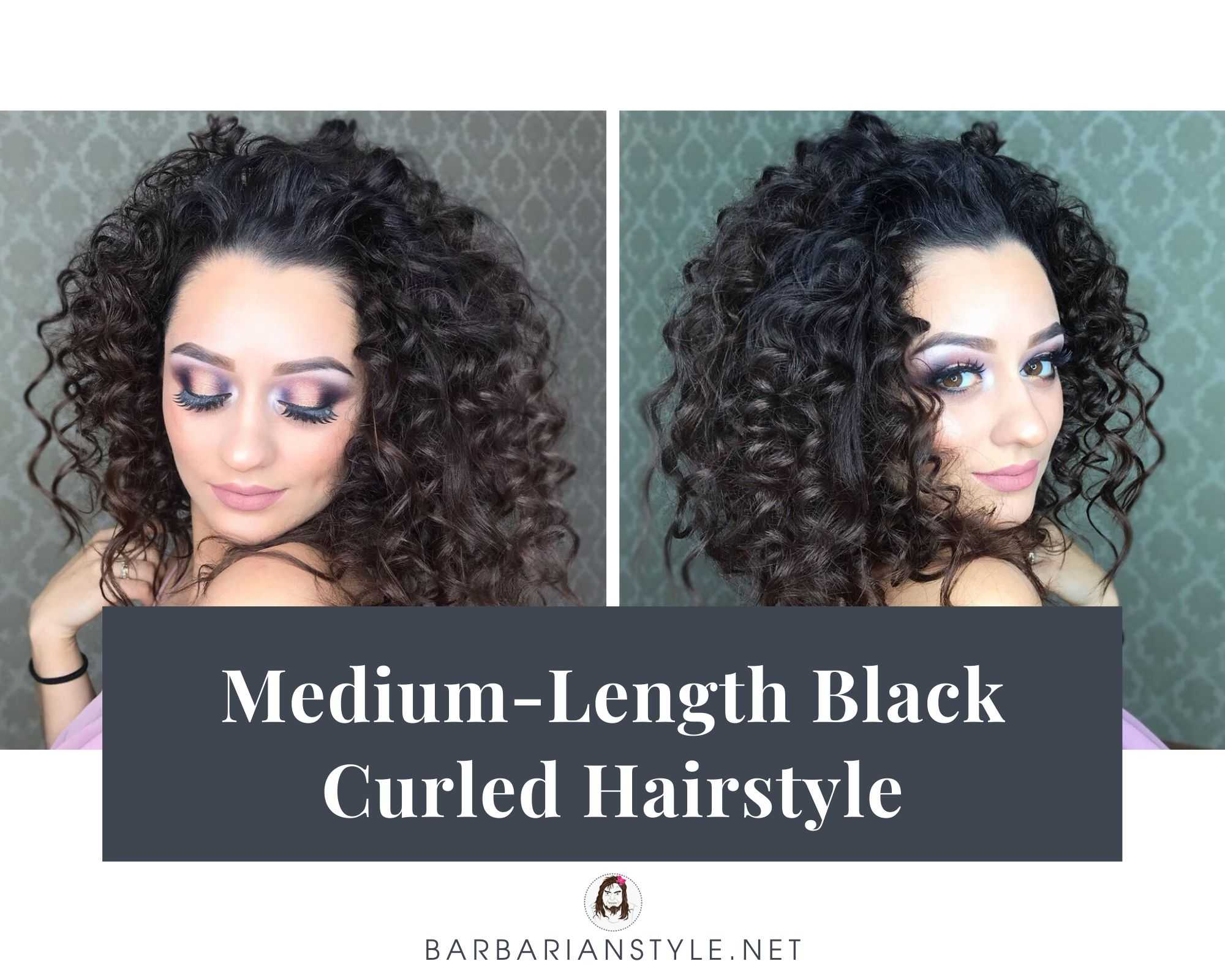medium-length black curled hairstyle