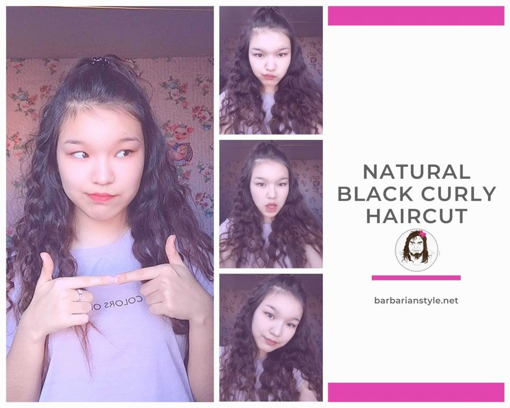 natural black curly haircut