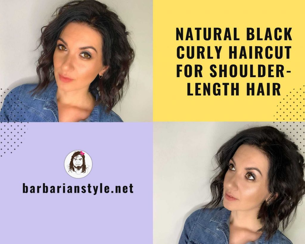 natural black curly haircut for shoulder-length hair