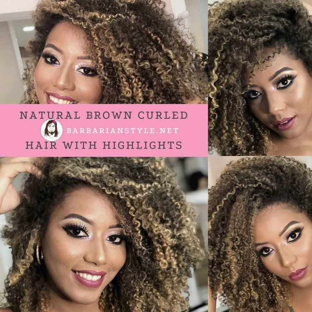 natural brown curled hair with highlights