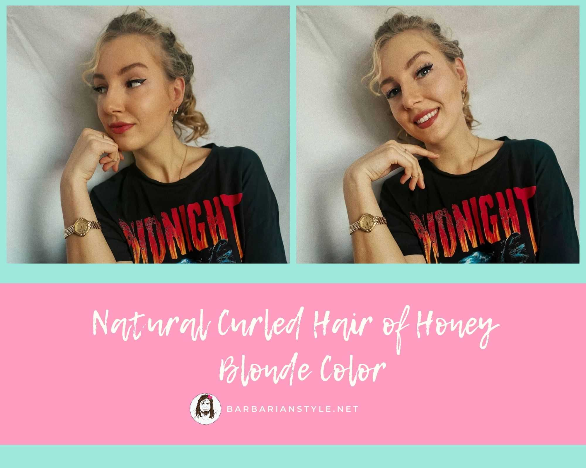 natural curled hair of honey blonde color