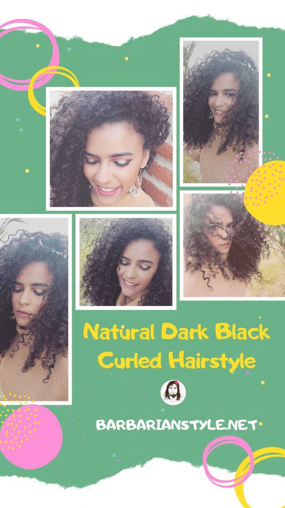 natural dark black curled hairstyle
